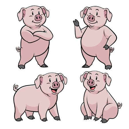 vector collection of funny pig Illustration
