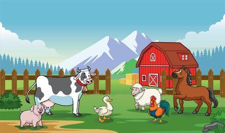 the gathering of livestock animal on the farm