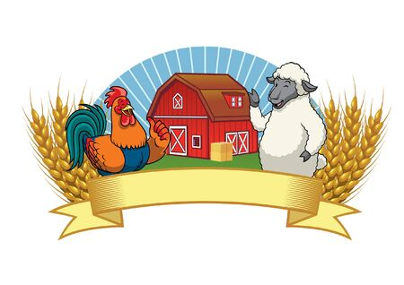 livestock animal cartoon greeting with blank banner for the text