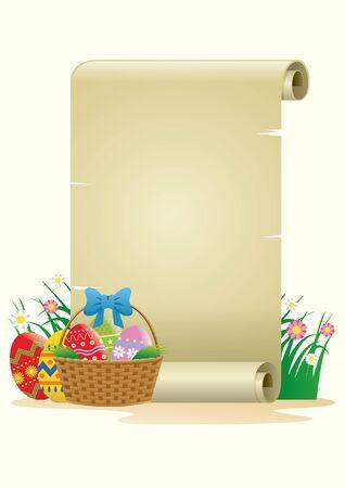 papel en blanco con algunos huevos de pascua