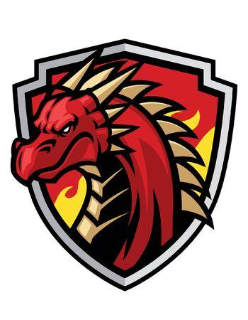 head of dragon mascot on the shield
