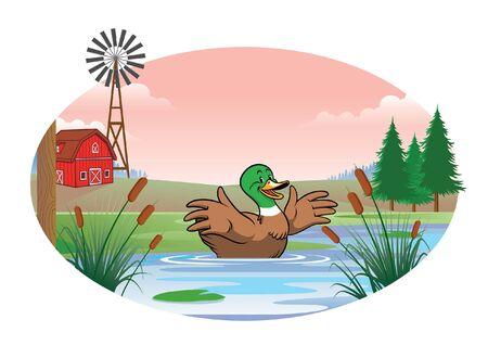 happy cartoon duck swimming on the pond