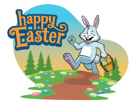 easter greeting design with rabbit