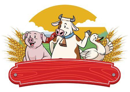 happy farm animal with blank wood banner for text Ilustração
