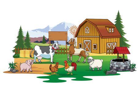 La agricultura en el pueblo con el ganado se reúnen animales.