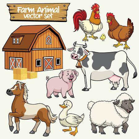 vector of set livestock animal character Stock Illustratie