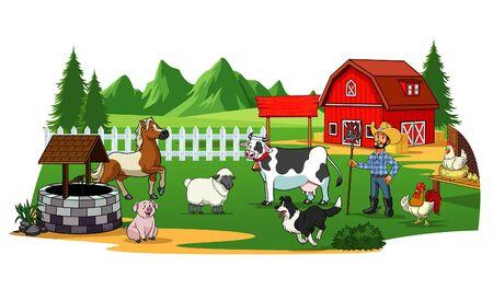 beautiful village farming land with some livestock animal