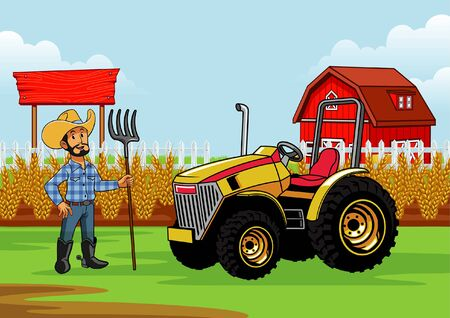 happy farmer with his tractor