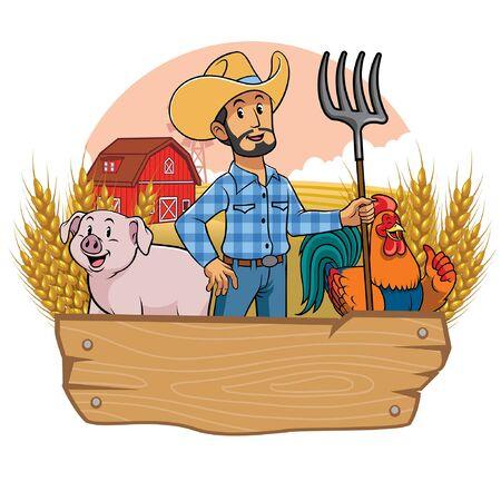 happy farmer with livestock animal
