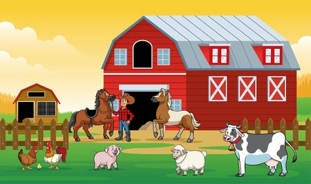 farm land with some livestock animal character Stock Illustratie