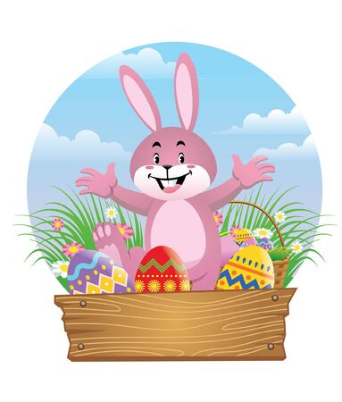 happy rabbit character show his easter eggs