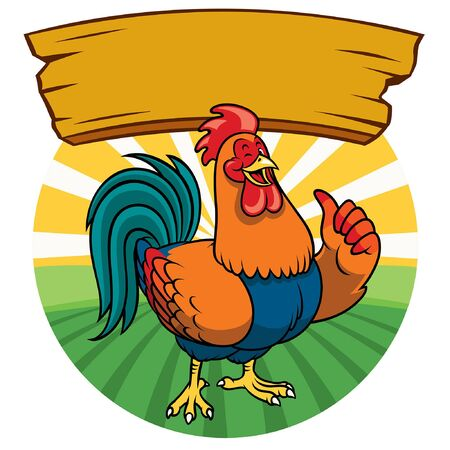 happy cartoon rooster character thumb up