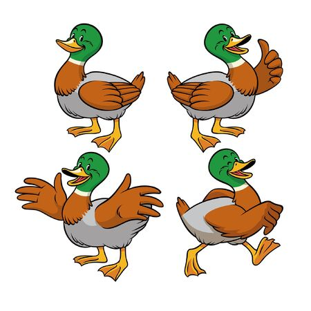 set of bundle cartoon duck character in various pose