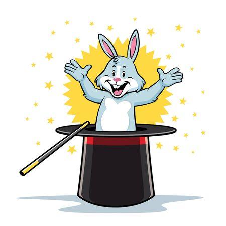magic rabbit coming out of the magic hat 일러스트