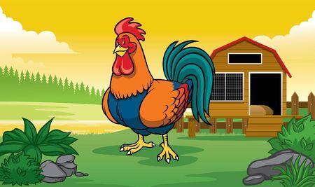 rooster chicken at the farm Ilustração