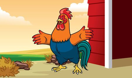 happy rooster cartoon mascot at the front of the barn