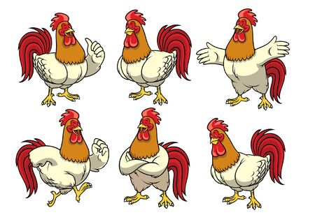 happy rooster mascot character set bundle