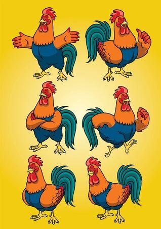 set of cartoon mascot of rooster character Ilustração