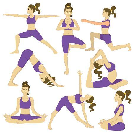 set of women in various yoga pose