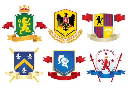 set collection bundle of heraldry shield design