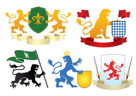 lion heraldry set bundle collection