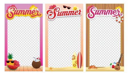 set bundle of frame design with summer concept