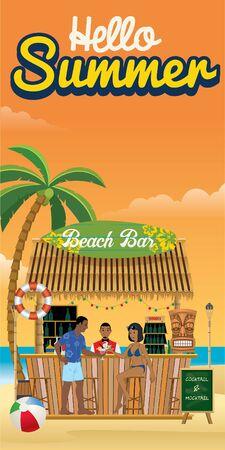 hello summer flyer design with beach bar at the beach
