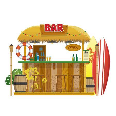 tropical beach bar design Illustration
