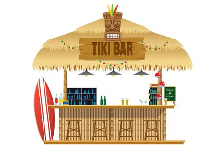 vector of tiki bar beach