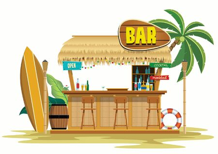 tiki bar beach with palm tree and surf board