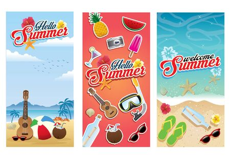 set bundle of summer greeting design flying 일러스트