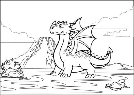 coloring page of cute cartoon dragon at the volcanic mountain