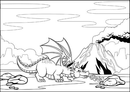 coloring page of cartoon dragon breathing fire Иллюстрация