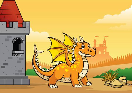 cheerful dragon cartoon at the castle Illustration