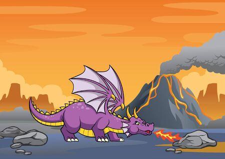 cartoon of dinosaur at the volcanic mountain 向量圖像
