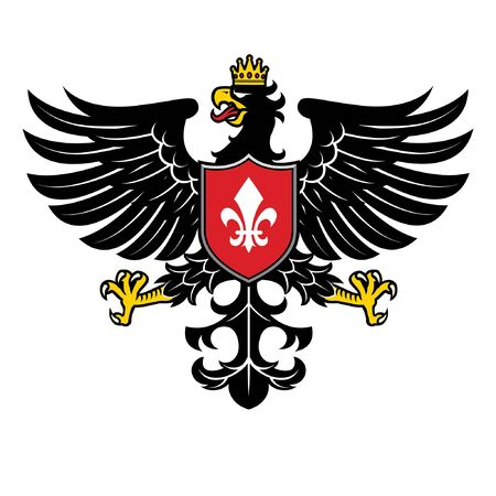 black eagle heraldry with shield and crown