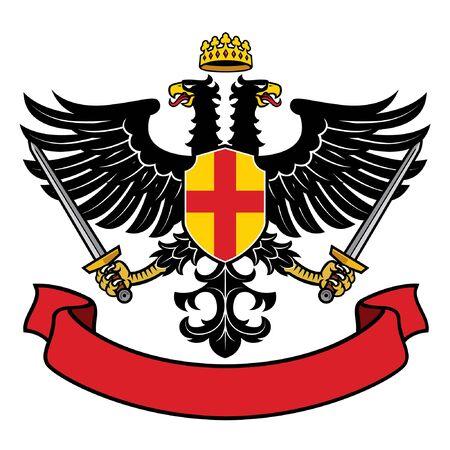 double headed eagle heraldry Illustration
