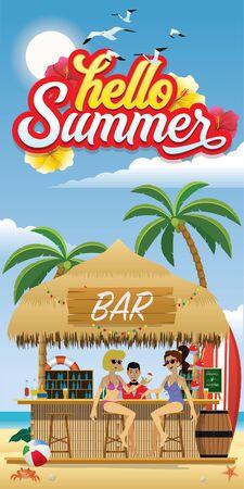 hello summer vertical design with people at beach bar Archivio Fotografico - 134857024