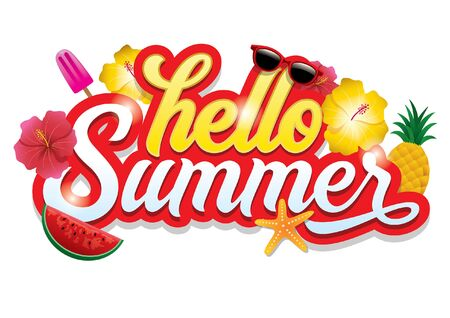 hello summer design with flowers and summer objects