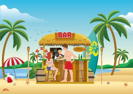 people at the beach tiki bar