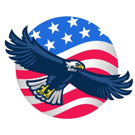 flying eagle and US flag  イラスト・ベクター素材