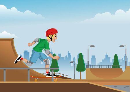 happy boy enjoying skateboard at skate park Ilustración de vector