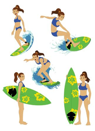 surfer girl set vector collection