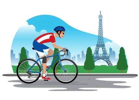 man riding a bike at paris city landscape 向量圖像