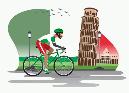 man riding bicycle with italy landmark background