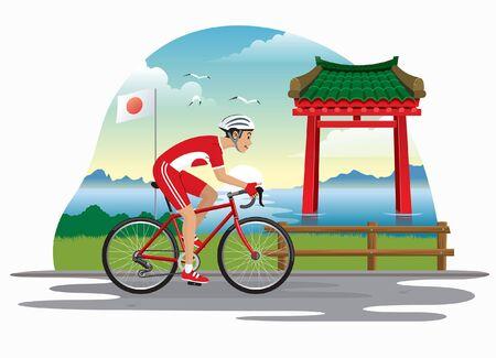 man riding bicycle with japan landmark background 向量圖像