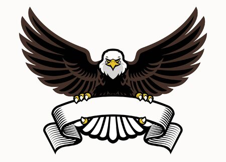 eagle spread wings with blank ribbon for text