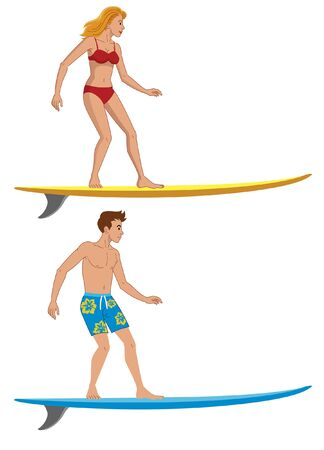 set vector of boy and girl riding surfboard
