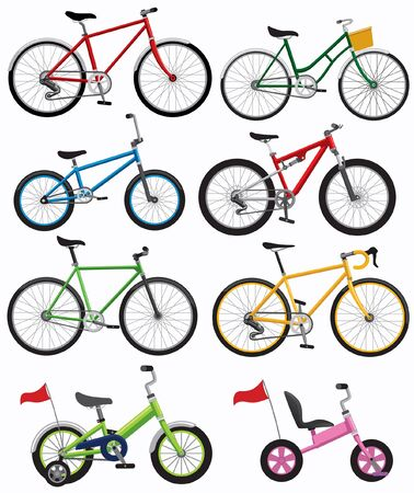set vector of bicycle