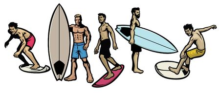 set vector of surfer and surf board
